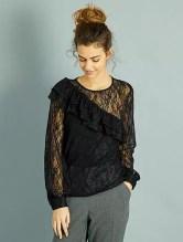 T-shirt en dentelle                             noir Femme