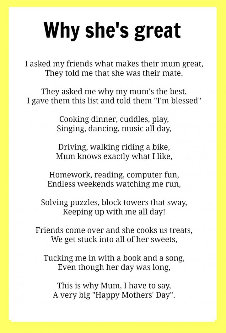 Mothers Day poems  Kidspot