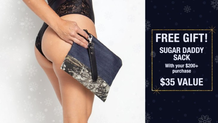 Liberator Free Gift Deal. Spend $200 and get a free Sugar Daddy Sack. Banner with a woman holding a blue cloth bag.