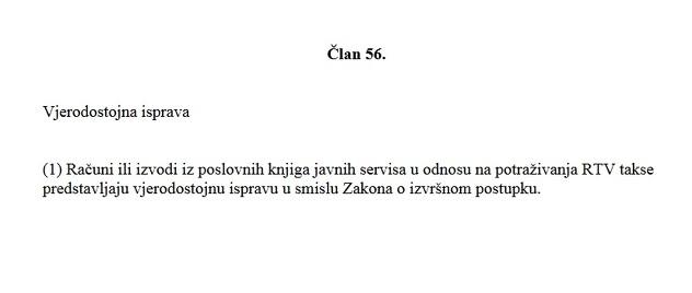 Osporeni Član 56. Zakona o javnom RTV servisu