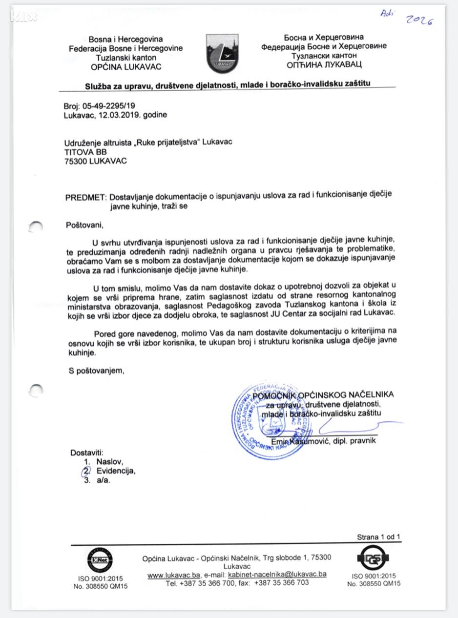 Zahtjev za dostavljanje dokumentacije (Foto: Klix.ba)