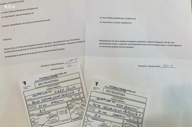 Zastupnica Hodžić o napuštanju Kluba SDA i formiranju novog kluba obavijestila je pismeno predsjedavajućeg Skupštine KS Mirzu Čelika (SDA)
