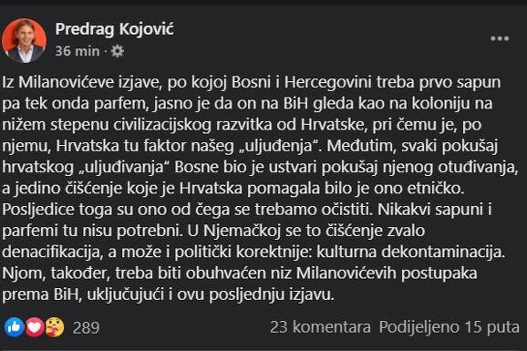 Status Predraga Kojovića o Milanovićevoj izjavi