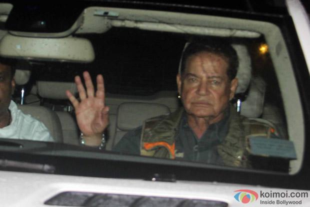Salim Khan Arrived For Arpita Khan's Birthday Bash