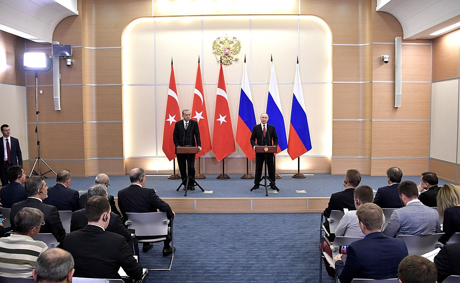 News conference following Russian-Turkish talks. With President of Turkey Recep Tayyip Erdogan.