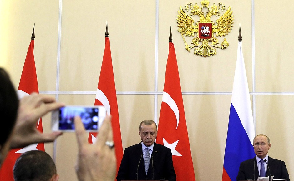 Press statement following Russian-Turkish talks. With President of Turkey Erdogan Recep Tayyip.