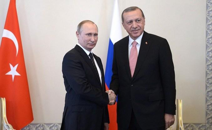 Russian President Vladimir Putin with Turkish President Recep Tayyip Erdogan.