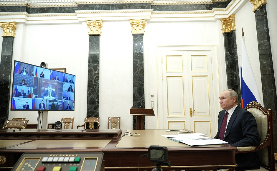 Meeting onsocio-economic development ofCrimea andSevastopol (via videoconference).