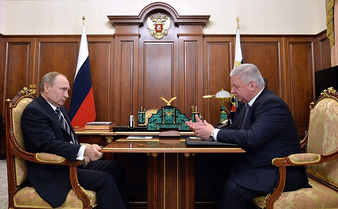 Meeting with Chairman oftheFederation ofIndependent Trade Unions ofRussia Mikhail Shmakov