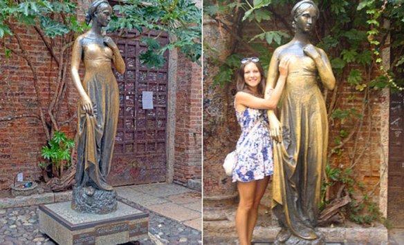 Ключи и любовные письма внутри статуи Джульетты.