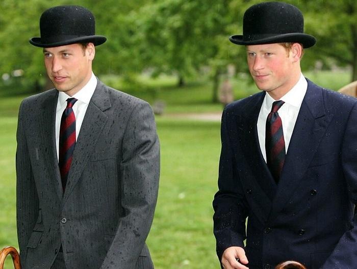 Принцы Уильям и Гарри в шляпах-котелках.   Фото: fashionstime.ru.