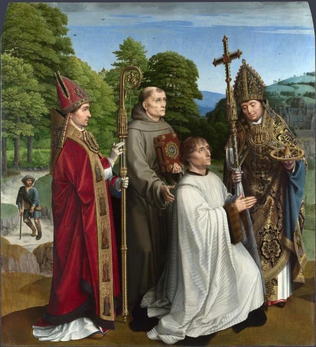 Бернардин Сальвиати и трое Святых. Автор: Gerard David.