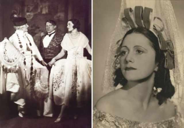 Супруги Пикассо на балу графа де Бомона, 1924 | Фото: artchive.ru и timeout.ru