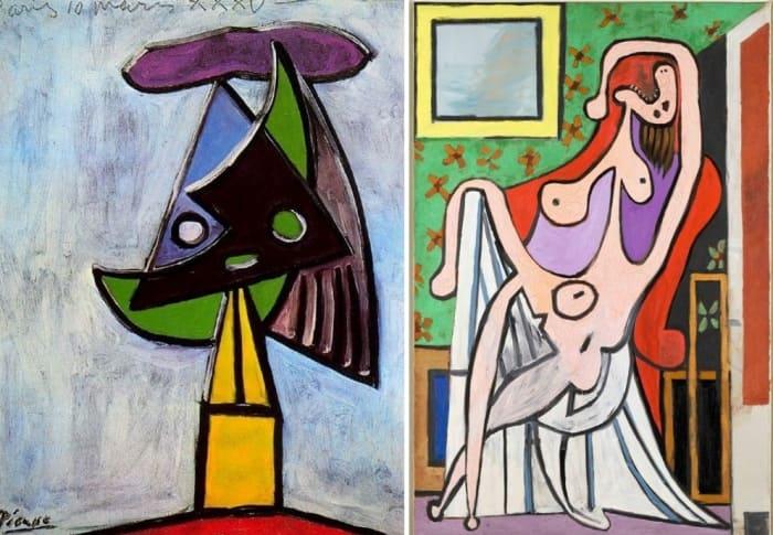 Слева – Пабло Пикассо. Голова женщины (Ольга Хохлова), 1935. Справа – Пабло Пикассо. Обнаженная в красном кресле, 1929 | Фото: pablo-ruiz-picasso.ru и artchive.ru
