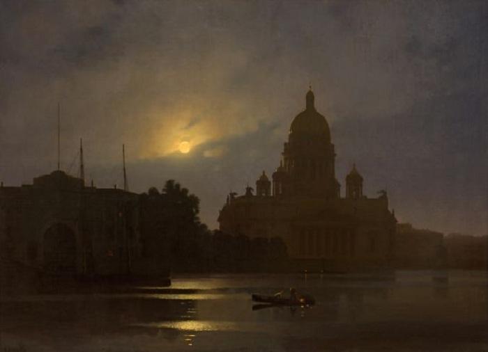 Исаакиевский собор ночью. Автор: Архип Куинджи.