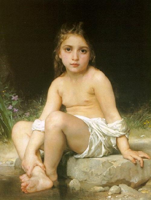 «Купающийся ребенок». Автор: William Bouguereau.