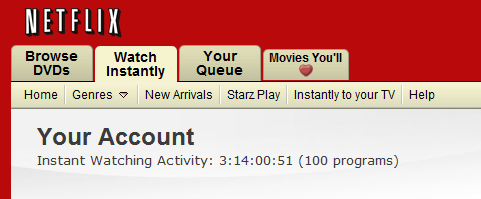 New: Netflix Watch Instantly Timer