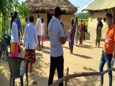 Team conducting house-to-house investigation before sealing Gandikhata village