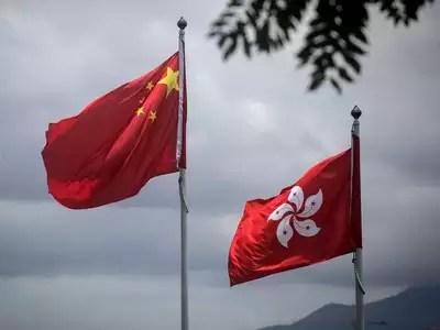 चीन और हॉन्ग कॉन्ग के झंडे