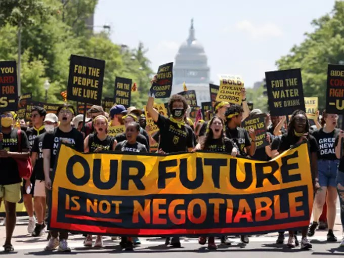 Environmental activists protesting in America