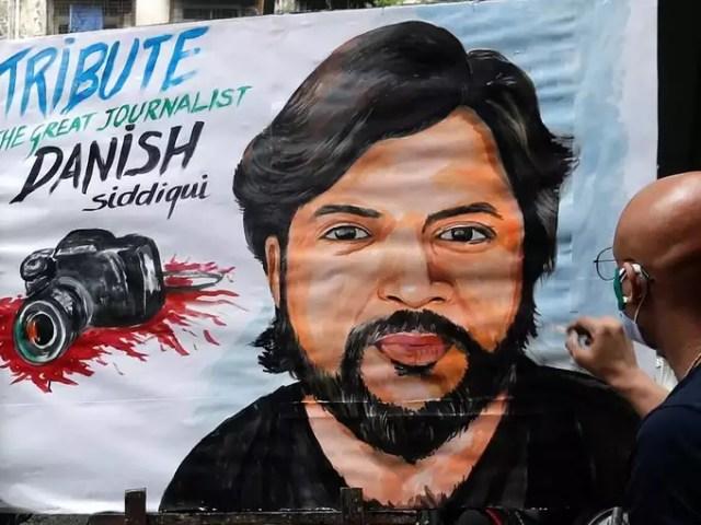 Tribute to Reuters journalist Danish Siddiqui, in Mumbai.