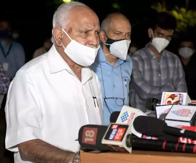 Bengaluru: Karnataka CM BS Yediyurappa addresses a press conference in Bengaluru...