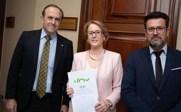 The deputies of Vox Murcia Lourdes Méndez, Joaquín Robles and Luis Gestoso.