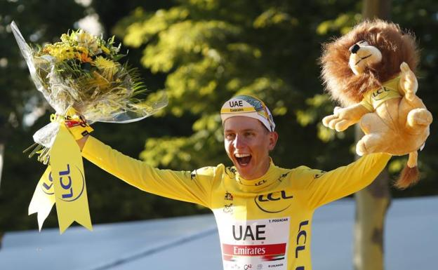 Tadej Pogacar, after winning his second Tour de France.