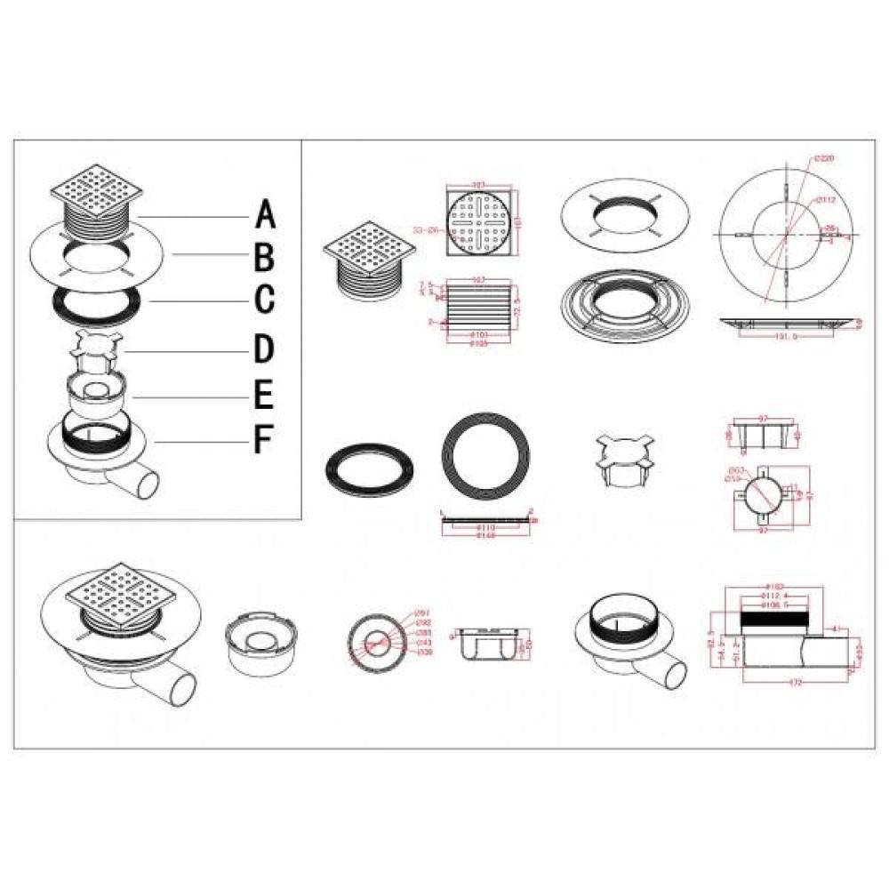 bonde sortie verticale ou horizontale receveur a carreler shower plate