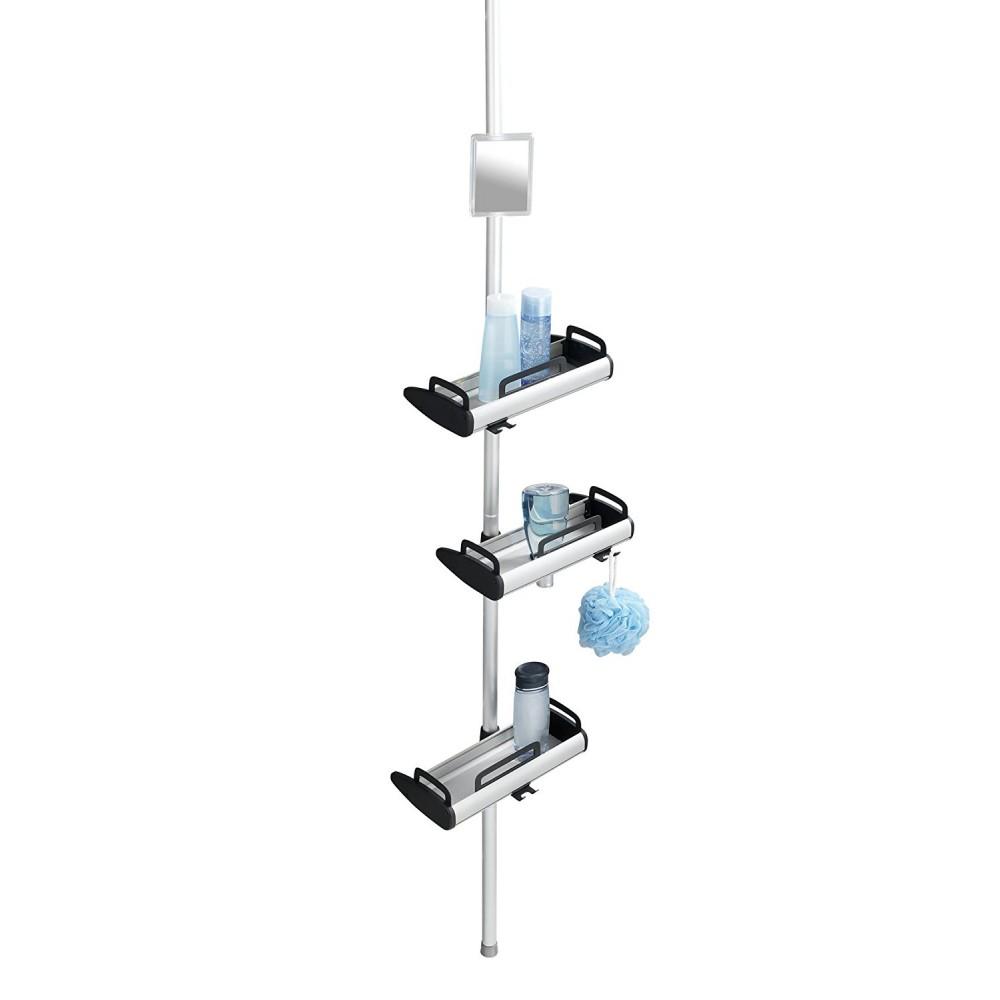 etagere de douche telescopique 3 tablettes pivotantes et miroir