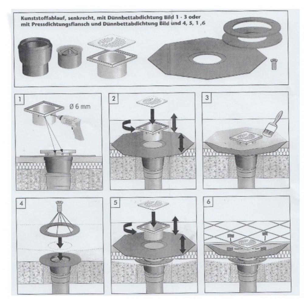 bonde de douche a l italienne 150 x 150 mm ajustable sortie verticale