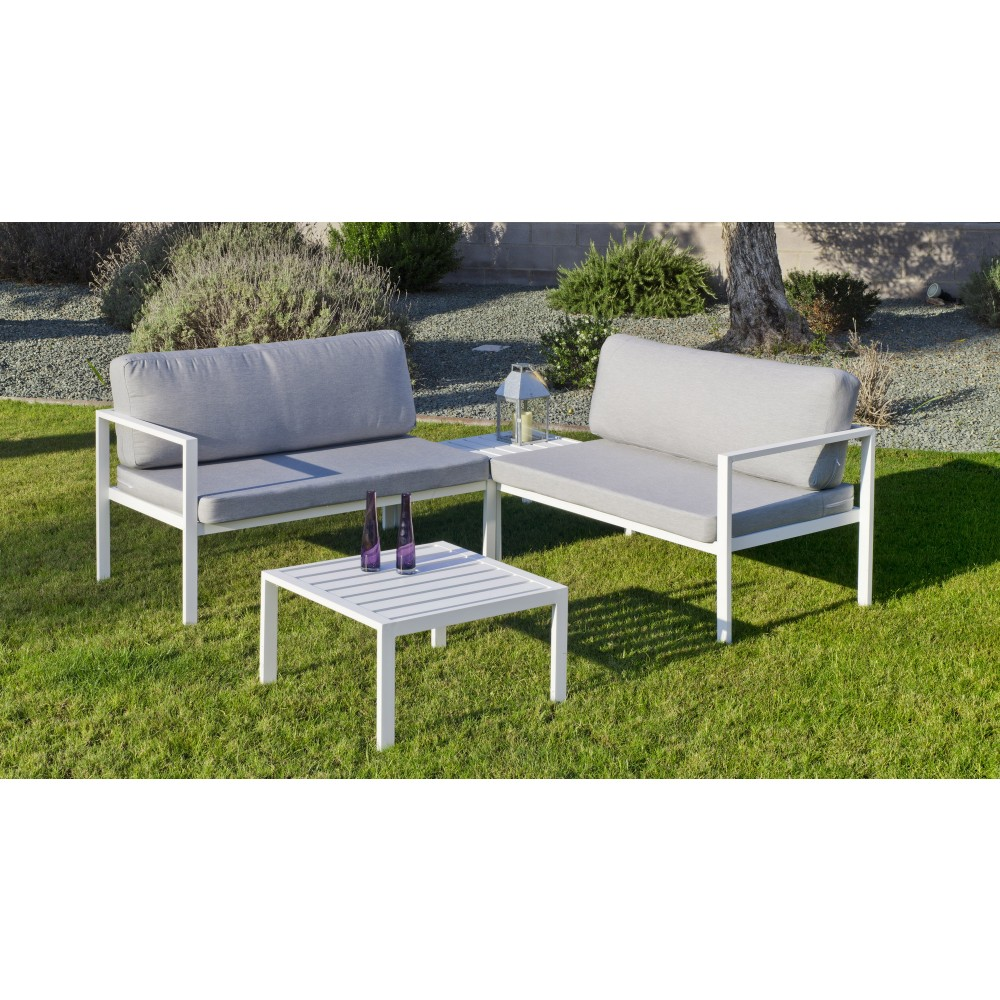 Table De Salon De Jardin Aluminium Salon De Jardin Aluminium Blanc Coussins Gris Clair Andgelina Indoor Outdoor Sur Bricozor