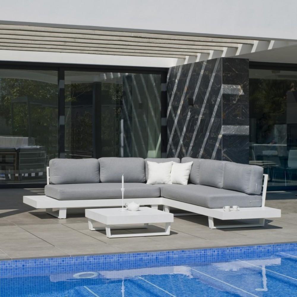 salon de jardin en aluminium coussins gris clair anastacia