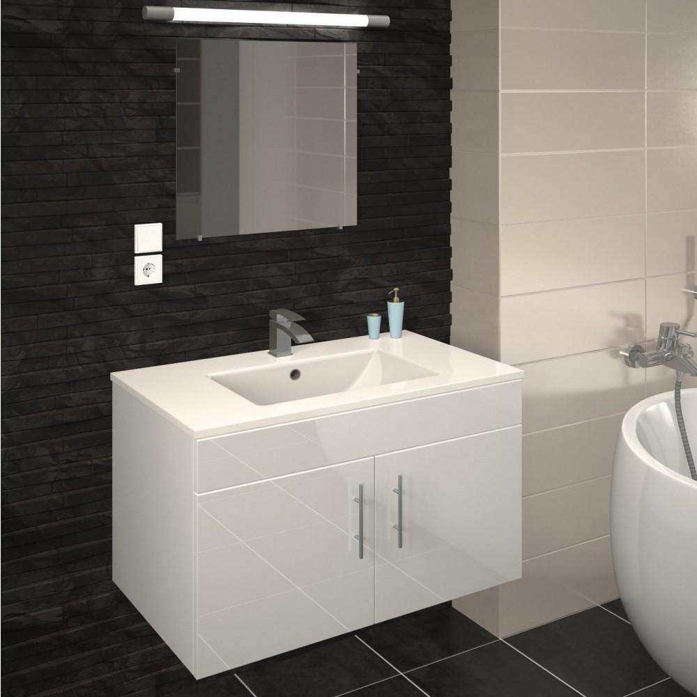 meuble de salle de bain 80 cm lime blanc gris mat ou chene bain room sur bricozor