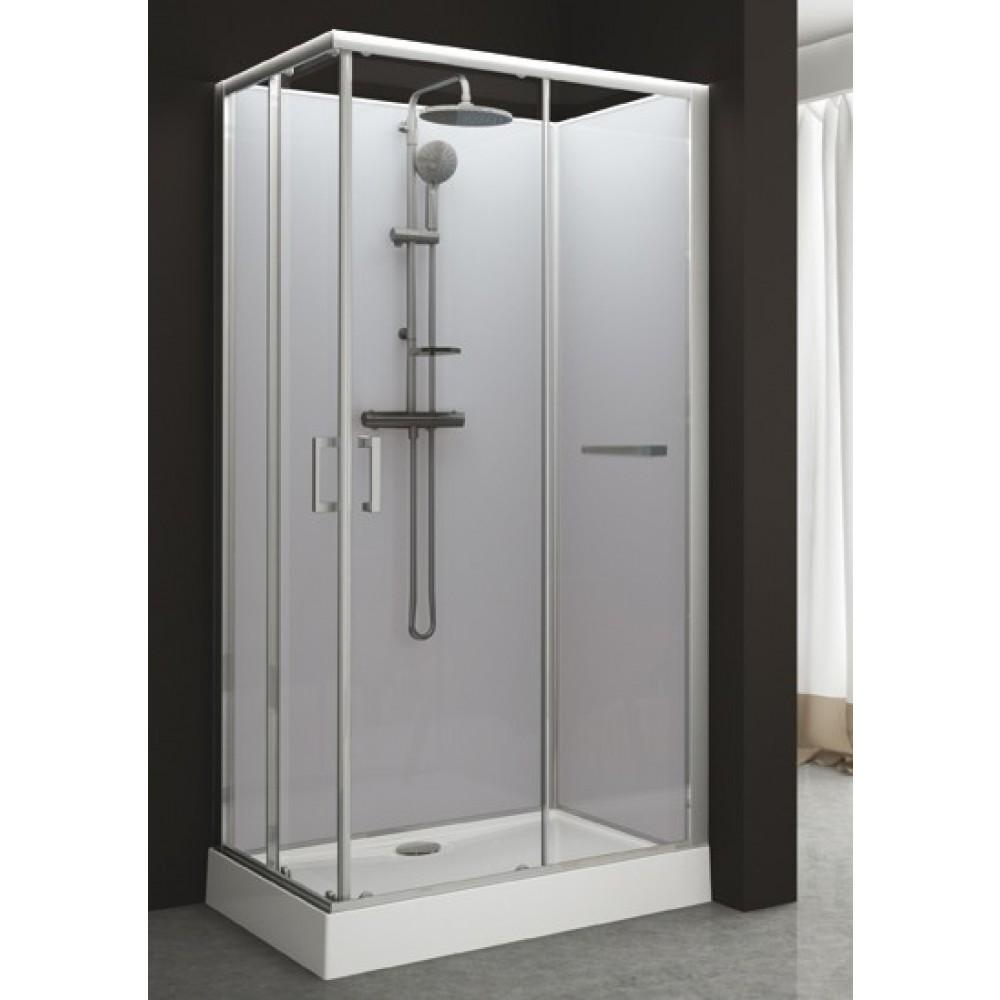 cabine de douche rectangulaire 80 x 120 cm portes coulissantes kara leda