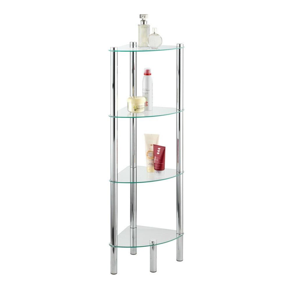 etagere de salle de bain d angle yago 4 tablettes en verre