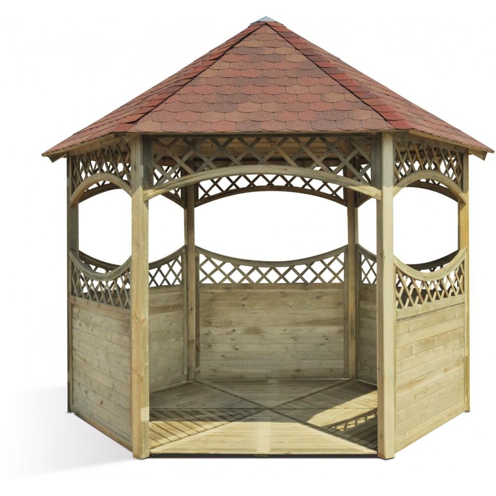 Kiosque de jardin hexagonale en bois  diamtre 450 cm  Red JARDIPOLYS  Bricozor