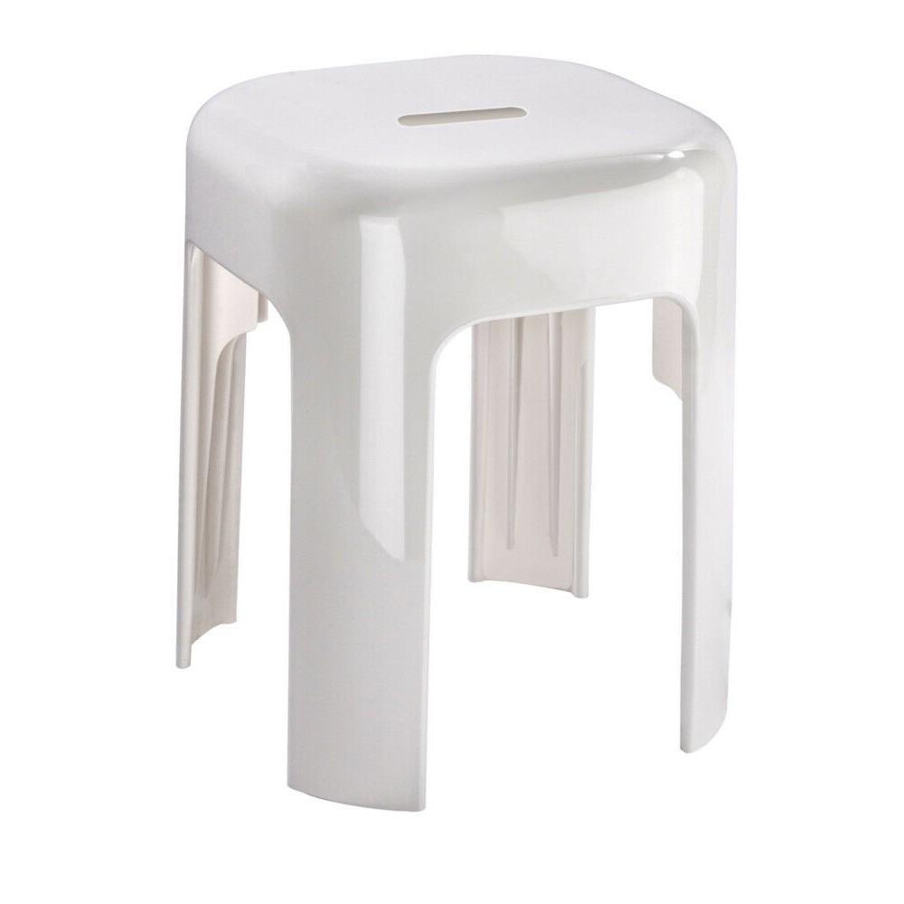 tabouret classique et robuste pour salle de bain alaska abs blanc