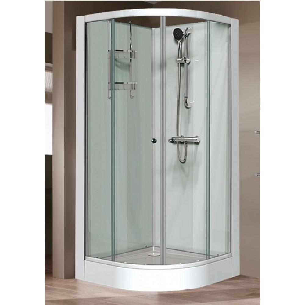 cabine de douche 1 4 c 90x90 cm portes coulissantes iziglass leda