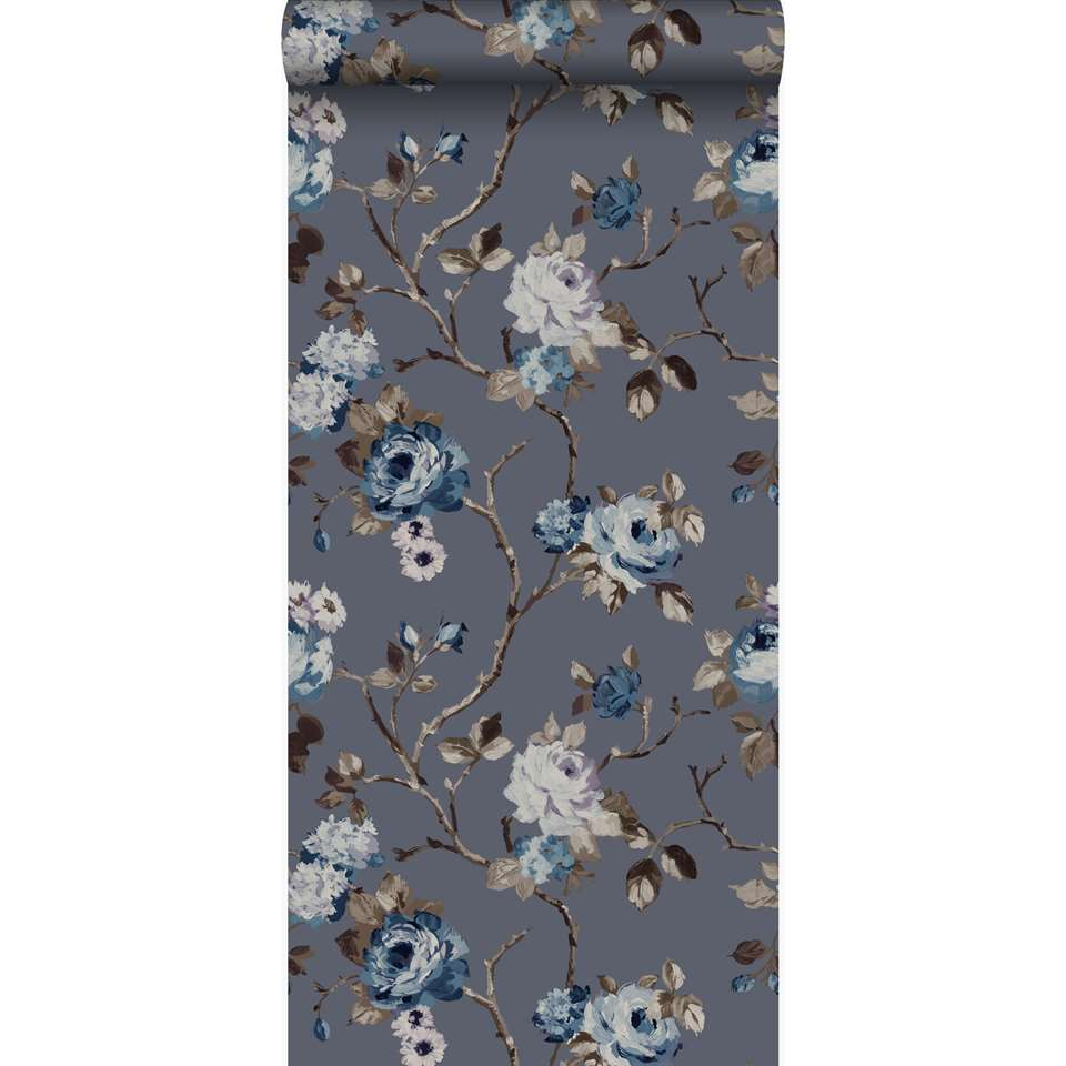 origin papier peint fleurs vintage bleu et taupe 53 cm x 10 05 m