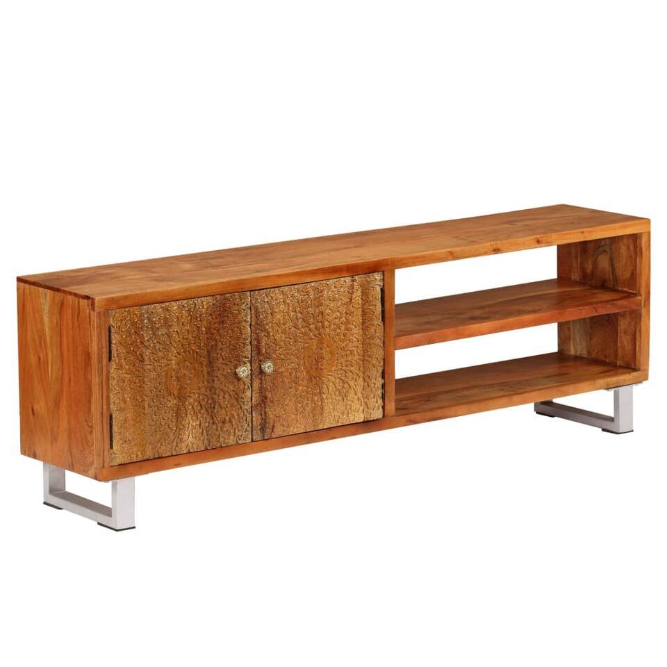 vidaxl meuble tv bois massif avec portes sculptees 140 x 30 x 40 cm