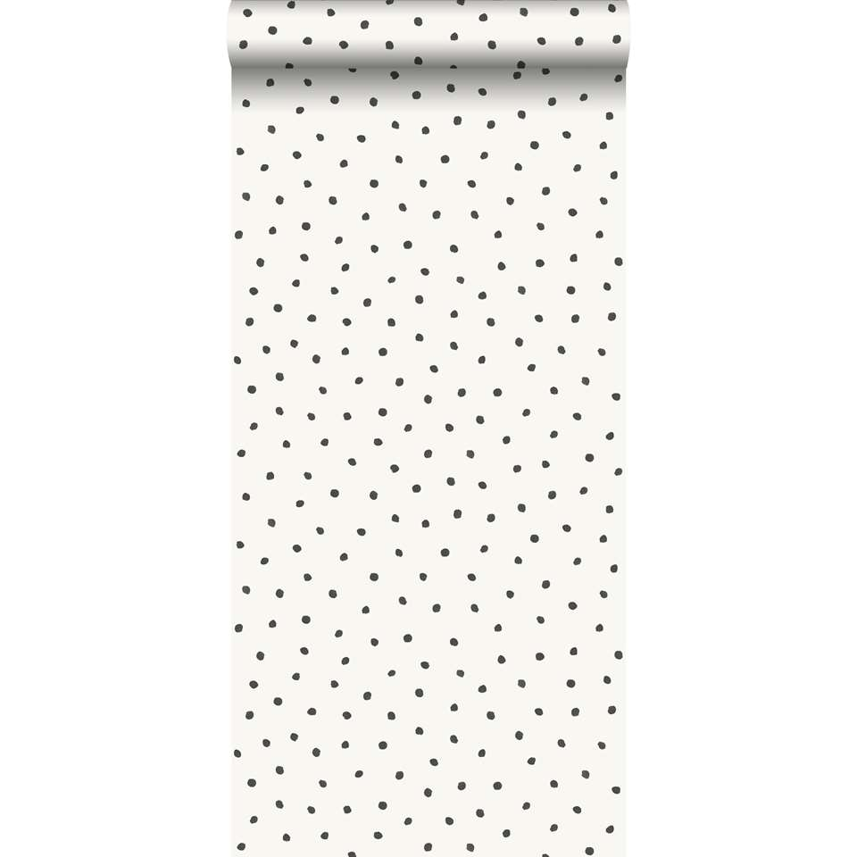 origin papier peint a motif de points blanc brillant et noir