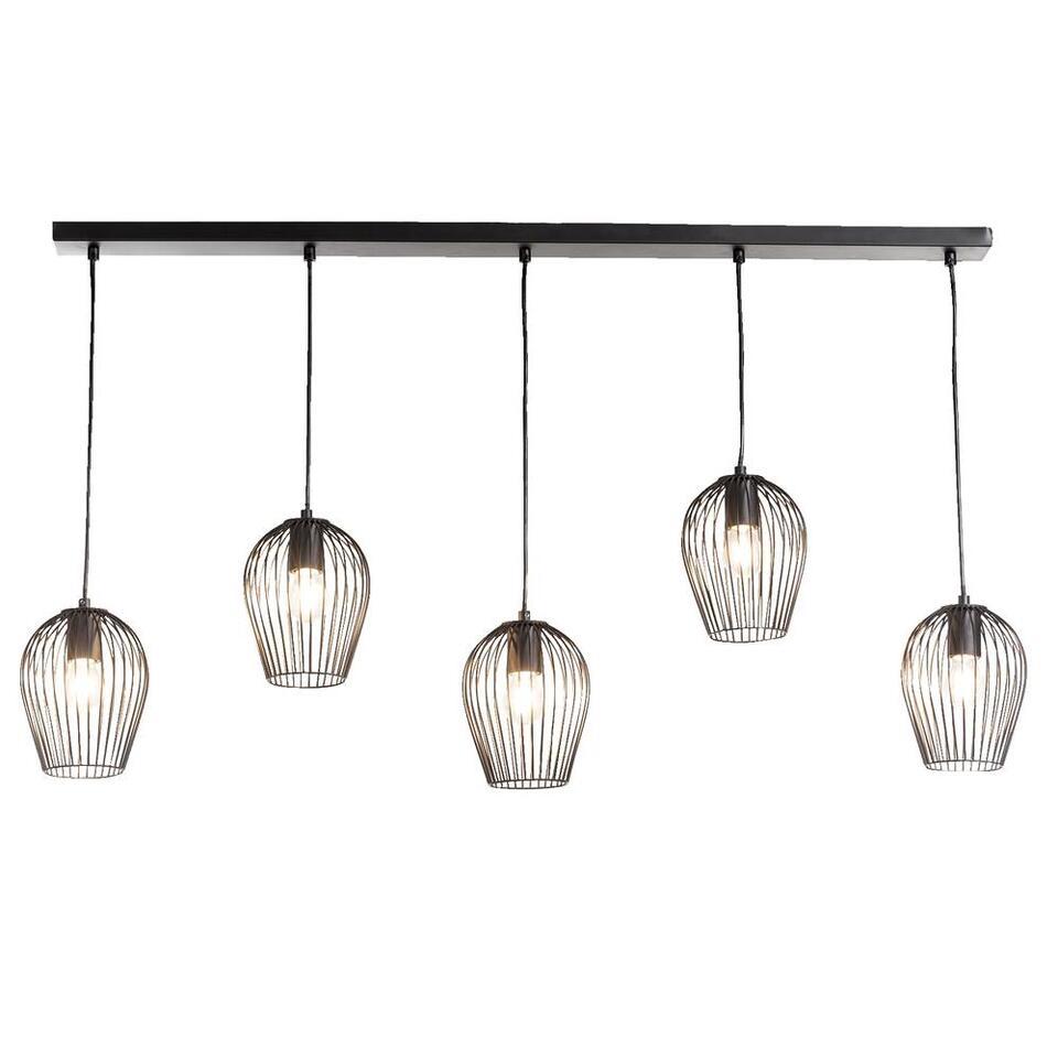 Hanglamp Lagos  mat zwart  5 lampen