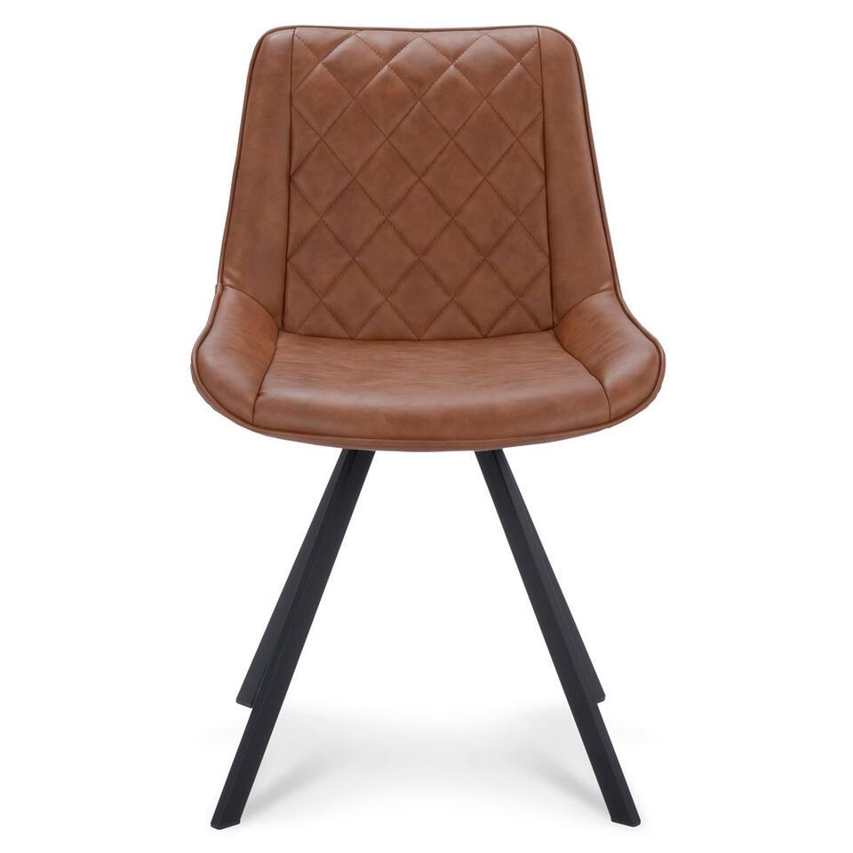 chaise de salle a manger harvey cuir artificiel cognac 2 pieces
