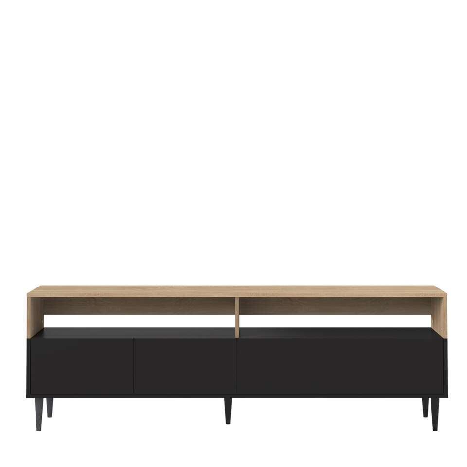 symbiosis meuble tv esby couleur chene noir 60 6x180x40 cm