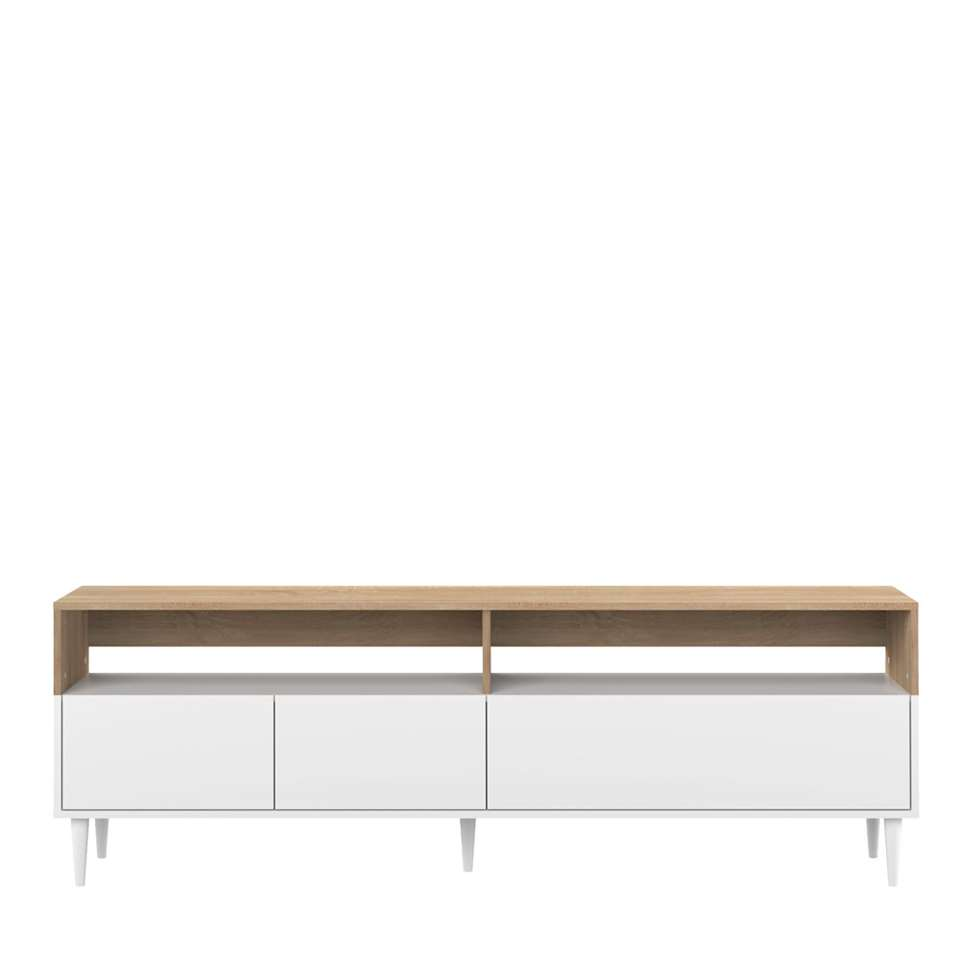 symbiosis meuble tv esby couleur chene blanc 60 6x180x40 cm