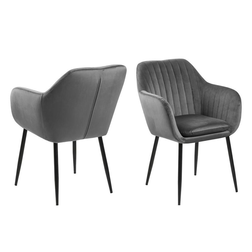 chaise de salle a manger meda velours gris fonce noire
