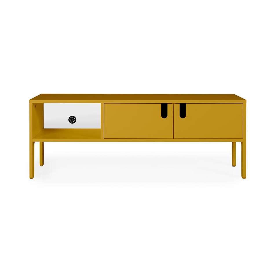 tenzo meuble tv uno 2 portes jaune moutarde 50x137x40 cm