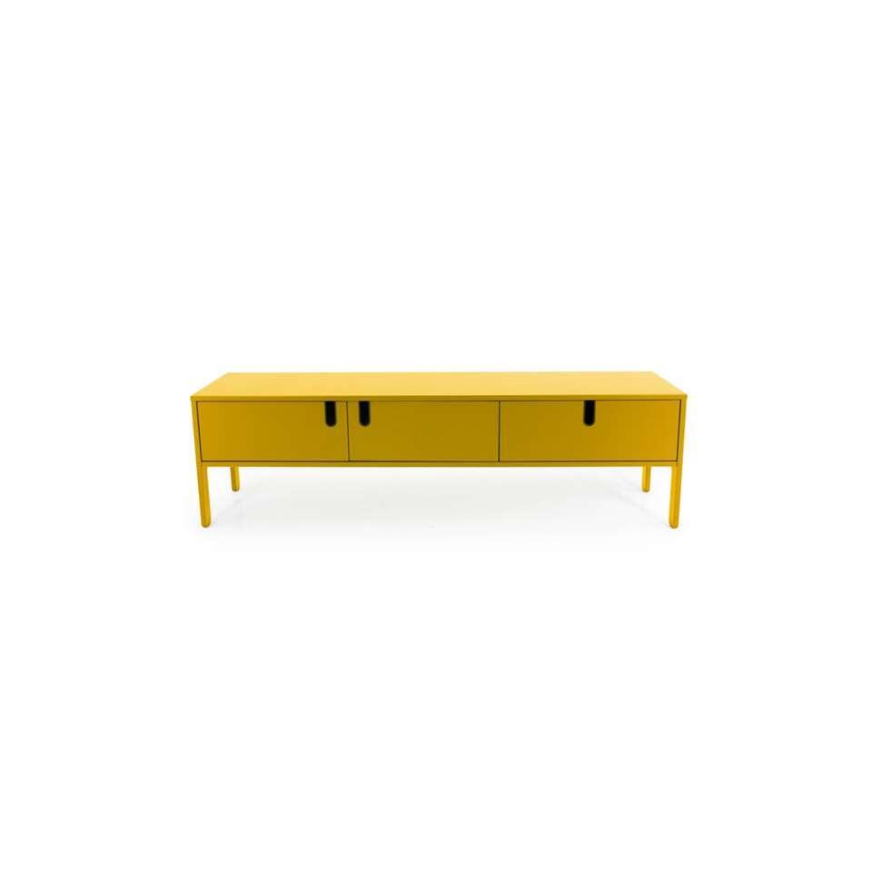tenzo meuble tv uno 2 portes et 1 tiroir jaune moutarde 50x171x46 cm