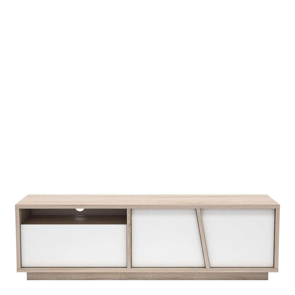 demeyere meuble tv nature couleur chene blanc mat 44 7x148 6x42 3 cm